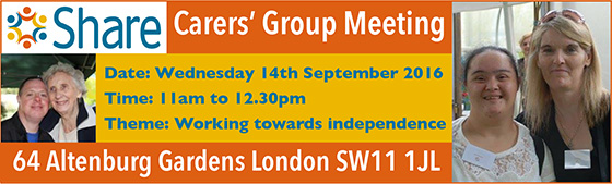 Carers meeting on 14th September 2016