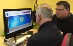 Ian using touchscreen technology