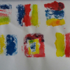 Roxanne's created more colourful mono prints using tea bags