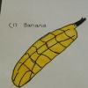 Draw a favourite fruit, Roxy's drawn a banana