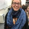 modelling a beautiful handmade scarf she helped make