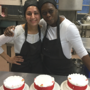 Zetty and Fatima making Christmas cakes