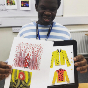 Shaun showing off his great artwork
